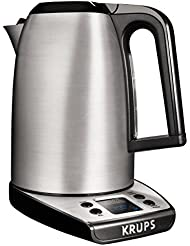 KRUPS 7211002406 BW3140 SAVOY Adjustable Temperature LCD Display Electronic Kettle Brushed Stainless Steel Housing, 1.7-Liter, Silver