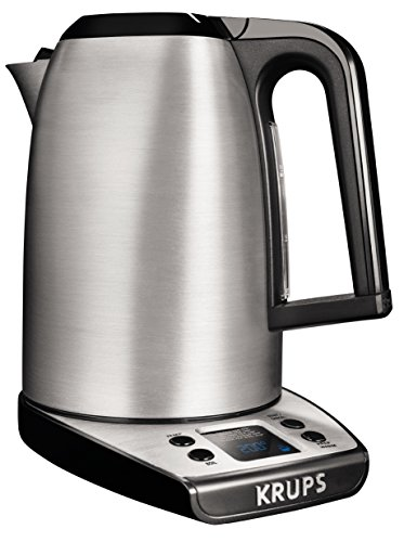 KRUPS BW3140 SAVOY Adjustable Temperature LCD Display Electronic Kettle Brushed Stainless Steel Housing, 1.7-Liter, Silver