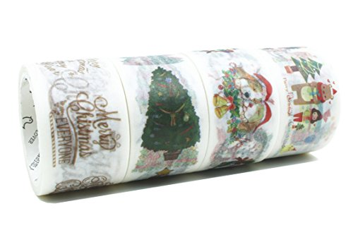 Christmas Washi Tapes 23 Feet 0.9 Inches Wide Box Decorative Masking Tapes Gift Wrapping - 4 - Snowflake Measuring Tape