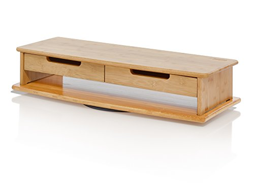 Prosumer's Choice Bamboo Swivel TV/Monitor Stand with Removable Base and Dual Pull-Out Drawers - Extra Long 30