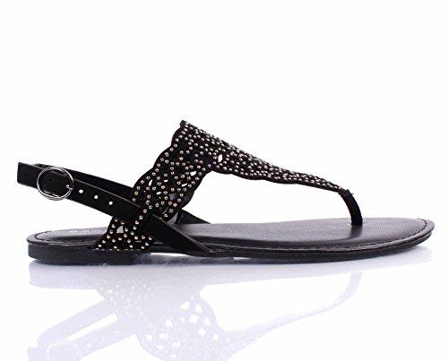 Bamboe T-strap Gesp Dames Casual Dames Sandalen Maat Nieuw Zonder Vak Zwart