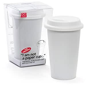 DCI I Am Not a Paper Cup, Travel Coffee Mug with Lid, 12 oz mug, Porcelain