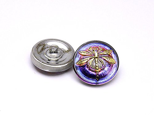 - Hand Made Art Czech Glass Button, Crystal Violet/Purple - Silver Dragonfly Size 8, 18mm, 1pc