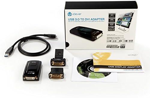 USB adaptador de vídeo, iClever USB 3.0 A DVI/VGA/HDMI adaptador ...