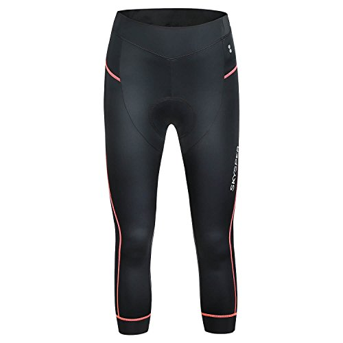 - Bea·CooL Women's Cycling Shorts 3D Padded ¾ Bicycle Tights Bike Capris Pants (Red, XXL)
