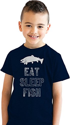 Youth Eat Sleep Fish T Shirt Funny Fishing Tee for Kids (blue) (Eat T-shirt)