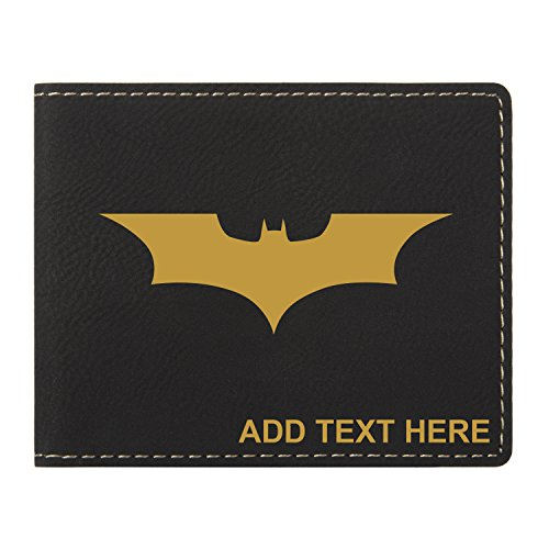 - Personalized Engraved Batman Dark Knight Vegan Leather Wallet, Black & Gold