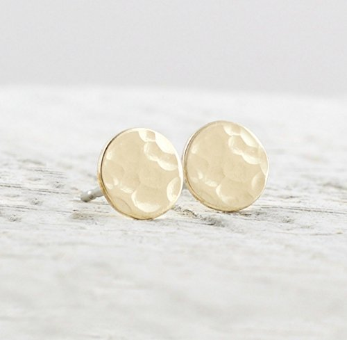 ed Circle Stud Earrings Jewelry Gift For Women Hammered Texture ()