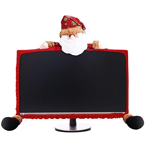 FireKylin Computer Monitor Cover, Elastic Computer Case Christmas Decorations for Home Office Decor New Year Gift Ideas (Santa Claus)