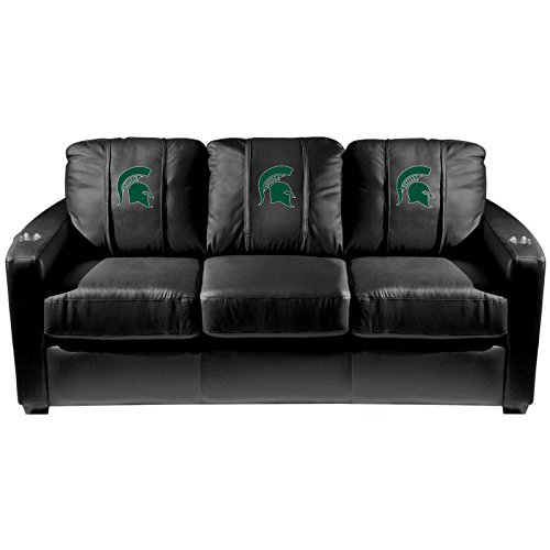 XZipit College Silver Sofa with Michigan State Spartans Logo Panel, Black