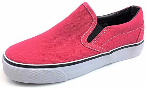 (Kid's Classic Slip On Canvas Sneaker Tennis Shoes, 2926 HOT Pink 13 US Little Kid)
