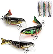 Fishing Lure, 3pcs Segmented Swimming Fishing Lure for Bass Walleye Pike Trout Selmon Striper, Bionic Bass Fis