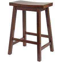 Winsome Saddle Seat 24-Inch Counter Stool, Walnut