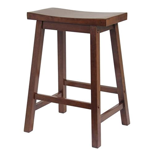 Charming Winsome Saddle Seat 24 Inch Counter Stool, Walnut