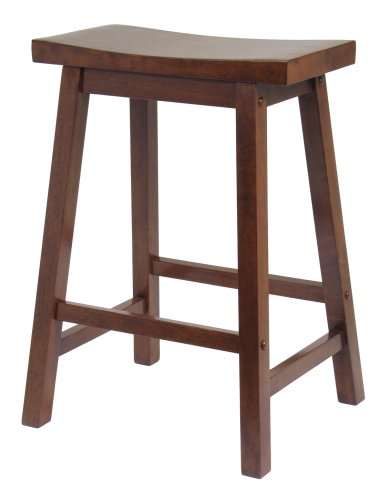 Winsome Saddle Seat 24 Inch Counter Stool, Walnut