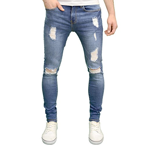 APT Mens Designer Branded Ripped Skinny Fit Distressed Jeans (36W x 32L, Midwash)
