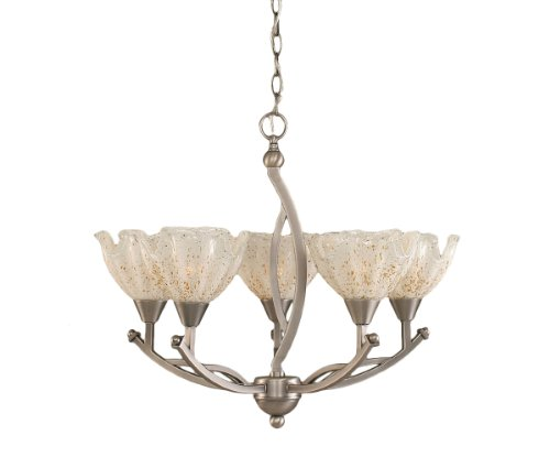 Toltec Lighting 275-BN-755 Bow Five-Light Uplight Chandelier Brushed Nickel Finish with Gold Ice Glass Shade, 7-Inch