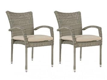 Lot de 2 fauteuils de jardin WHITEHEAVEN en résine tressée gris ...
