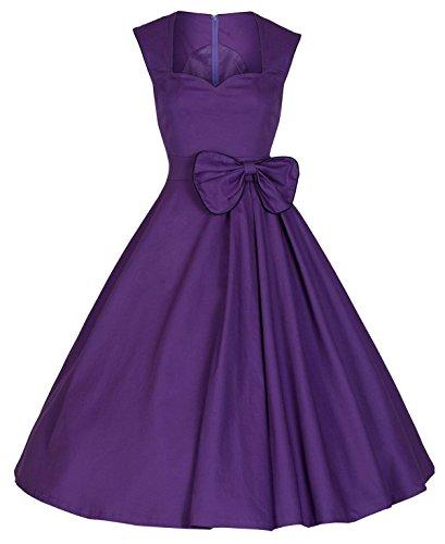 Sin Mangas Clásico Mujer Salvaje Color Sólido Expuesto Vestido Del Oscilación Grande En El Pecho Purple
