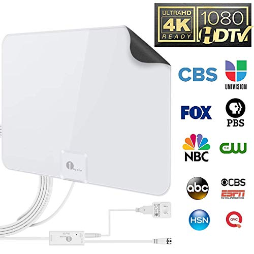 TV Antenna - 1byone Amplified 50 Mile HDTV Digital Antenna Powerful Amplifier Signal Booster for All TV 4K UHF VHF 1080P Local Channels with 20ft Coaxial Cable