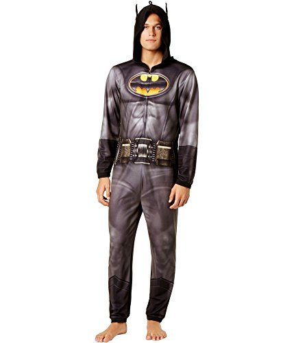 Briefly Stated Mens Batman Arkham Fleece Hooded Union Suit Black M ()