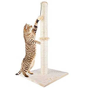 "Dimaka 29"" Tall Cat Scratching Post, Claw Scratcher with Sisal Rope and Covered with Soft Smooth Plush, Vertical Scratch [Full Strectch], Modern Design 29 Inches Height 43"