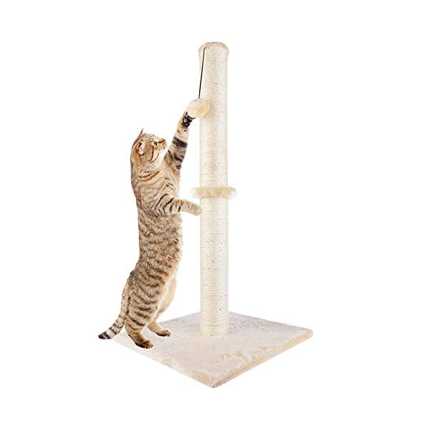 "Dimaka 29"" Tall Cat Scratching Post, Claw Scratcher with Sisal Rope and Covered with Soft Smooth Plush, Vertical Scratch [Full Strectch], Modern Design 29 Inches Height 1"