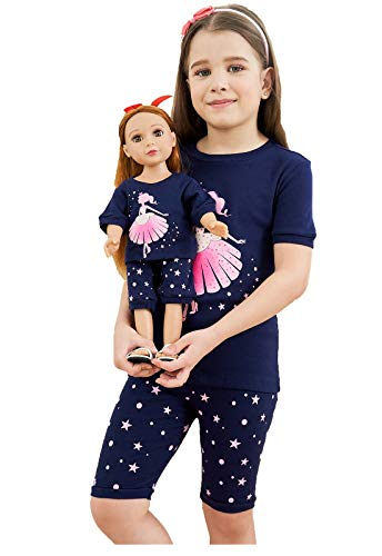 Babyroom Girls Matching Doll&Toddler Dance 4 Piece Cotton Pajamas Kids Clothes Sleepwear Size - Doll Outfit Girl