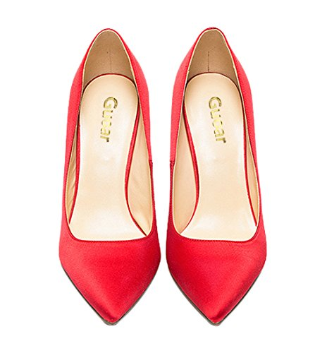 Toe Large Pointed Heel Materials Stiletto High Special womes Red Size Silk Guoar shoes Pumps EwFUqW