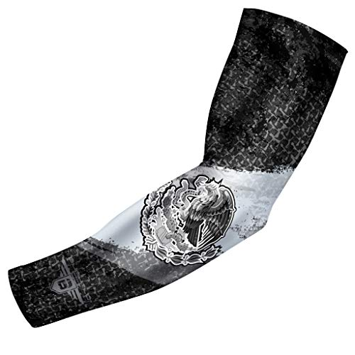 Bucwild Sports USA Mexico Puerto Rico Flag Compression Arm Sleeve - Youth & Adult Sizes - Baseball Basketball Football Boys Girls Kids Men & Women (Mexico Black Flag, Adult Small (1 Arm Sleeve))