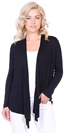 Popana Women's Long Sleeve Cardigan - Casual Lightweight Open Front Drape Cardigan Small Black