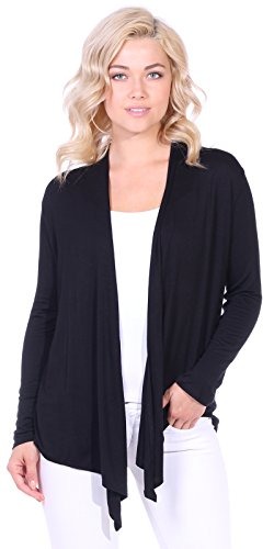 (Popana Women's Open Front Drape Lightweight Cardigan Long Sleeve Made In USA Small Black)