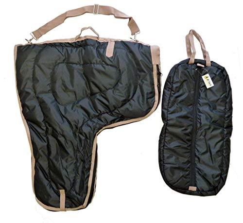 (AJ Tack Wholesale Western Saddle Carrier Bridle Halter Bag Large 420D Poly Fill Padded Black)