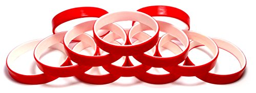 1 Dozen Multi-Pack Red ColorSpray on White Wristbands Bracelets Silicone Rubber - Select from a Variety of Colors (Red on White, Youth (7