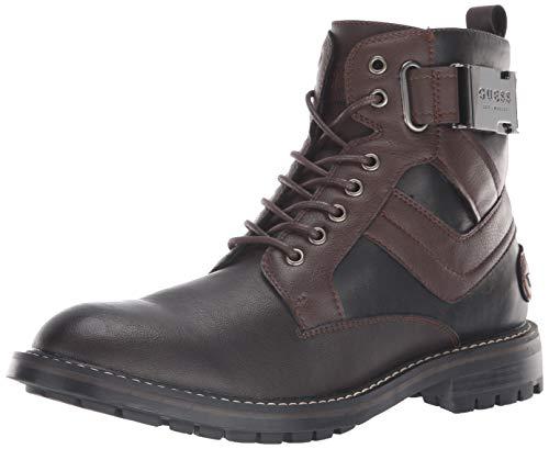 GUESS Men's Rebel Combat Boot, Brown, 9 M US