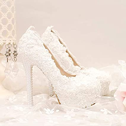 GTVERNH Womens Shoes//Super High Heels Waterproof Table Shoes Thin Heels Lace Flowers Pearls 14Cm Wedding Shoes Bridal Shoes.