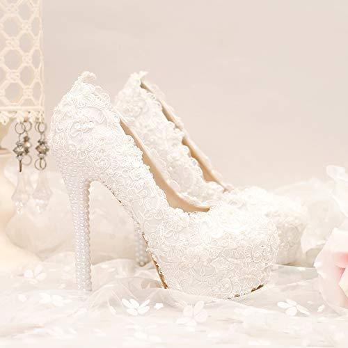 da 37 Pizzi Perle Super Tacchi GTVERNH Fiori Matrimonio Spillo Tacchi 14Cm Scarpe Scarpe Thirty donna Scarpe Impermeabile Sposa E five I A Tabella Scarpe Da Bw55xAfq