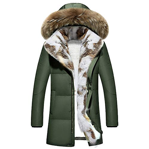 BODOAO Men Winter Down Jacket Puffer Coat Hooded Quilted Zipper Coat ()
