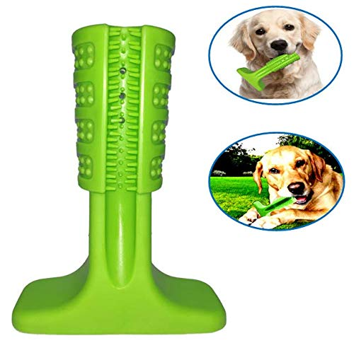 LKwxw Dog Toothbrush Chew Toy,Green Rubber Dog Toothbrush Stick for Dog Tooth Cleaning for Medium and Large Dogs.