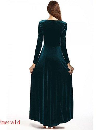 PU&PU Robe Aux femmes Swing Soirée / Décontracté , Couleur Pleine Col en V Maxi Cachemire / Coton / Polyester / Satin / Laine synthétique , blue-l , blue-l