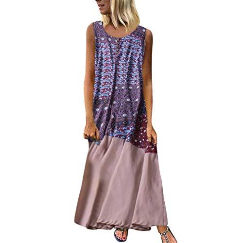 (Women Vintage Cotton Linen Plus Size Dresses Printed Stitching Sleeveless Beach Dress)