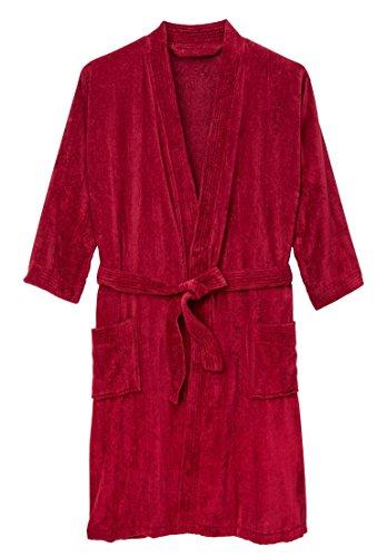 Kingsize Men's Big & Tall Terry Velour Kimono Robe, Rich Burgundy (Mens Tall Robe)