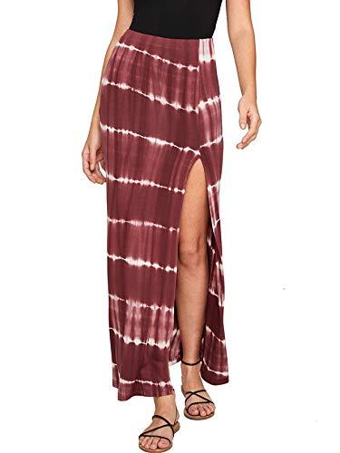 (Verdusa Women's Solid Color High Waist Side Split Maxi Skirt Tie Dye Rust L)