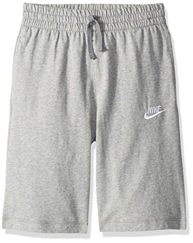 NIKE Sportswear Boys' Jersey Shorts, Dark Grey Heather/Dark Steel Grey/White, Large