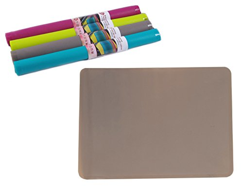 Silikon Backmatte / Rutschfeste Backunterlage / Silikonmatte / Platzdeckchen, Format ca. 38,5 x 28,5 cm (Grau-Braun)