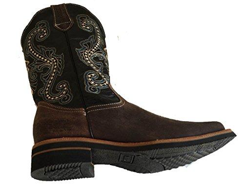 Heren Cowboylaarzen Echt Rundleer Effen Vierkante Neus Rodeo Western Boots_moca