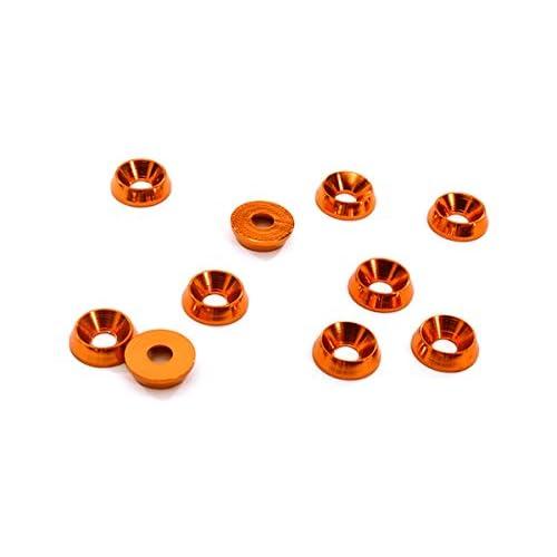 Integy RC Model Hop-ups C28129ORANGE Billet Machined M3 Size Color Concave Alloy Washer Kit 10pcs
