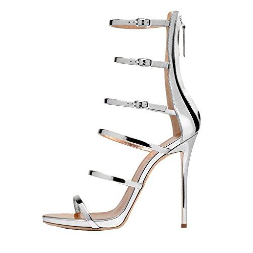 US Summer Sexy for Women High Silver Shoes Stiletto Sandals Wedding Size Strappy 15 Heel 4 Gladiator FSJ pP51xZqwZ