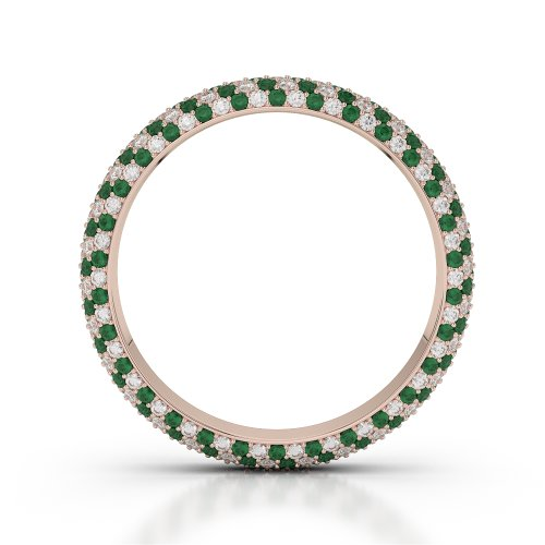 Or Rose 18carats 1,35CT G-H/VS sertie de diamants ronds découpé Émeraude et bague éternité Agdr-1115