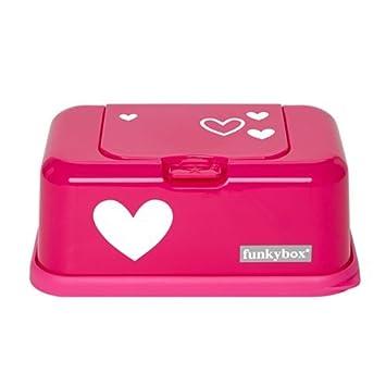 Funkybox - Cajita para toallitas húmedas - rosa brillante con el corazón
